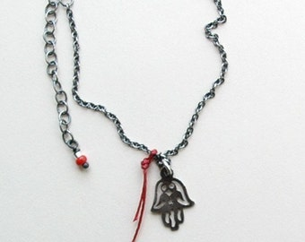 Silver Hamsa necklace amulet - Helping Hand - RedSofa jewelry