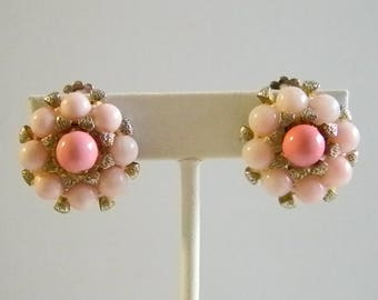 Pink Beaded Cluster Clip On Earrings