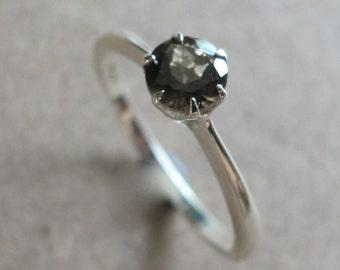 Solitaire Smoky Quartz Ring- Silver Smoky Quartz Ring- Solitaire Ring- Brown Stone Ring- Promise Ring- Stack Ring- Gemstone Ring-Silver Ring