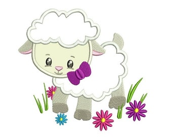 Easter Lamb With a Cute Bow Applique Machine Embroidery Digitized  Design Pattern - Instant Download - 4x4, 5x7, 6x10