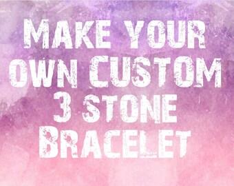 Make your own Custom Gemstone Bracelet - Choose 3 stones- Choose Bead colour- Choose cord colour 8mm