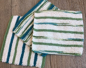 Cotton Dish Cloths, Knit Dish Cloth - set of 3