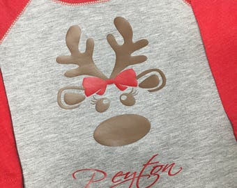 Toddler Girl Reindeer w/Bow & Name Raglan