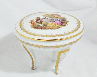 Limoges Fragonard Three Legged Porcelain Trinket Box