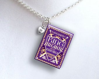 King Arthur with Tiny Heart Charm - Miniature Book Necklace