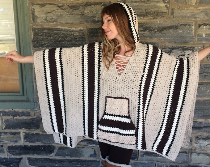 PONCHO/ Baja Poncho/plus size sweater/  READY to SHIP/ gift for her/ plus size poncho/ crochet sweater/ boho poncho/ womens sweater/stripe