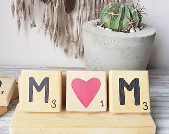 Mother's Day gift / Mom Scrabble tiles /  reclaimed wood / Handpainted Mom display / sign