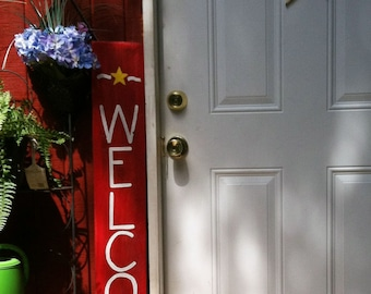 Welcome Sign For Front Porch - Red White and Blue Decor - Americana Sign - Patriotic - 4th of July - Welcome Sign - 4th of July Gift
