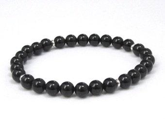 Chakra Bracelet Women, Men Onyx Gemstones Mala Bracelet, Sterling Silver Beads, Birthday Couples Bracelets, Zen Gift for Wife, Yoga Bracelet