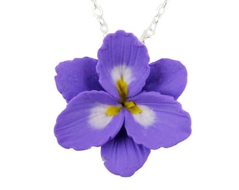 Purple Freesia Necklace - Silver Gold or Antique Brass, Freesia Jewelry
