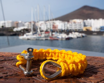 BRACELET MACRAME with Manila rope knot stainless - yellow - sailors knots - seamanship - 100% handmade