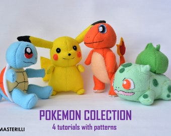 Pokemon collection PDF Toy Sewing Patterns and Tutorial - 4 patterns