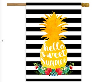 "Hello Sweet Summer Pineapple Wreath House Flag 28"" x 40"""
