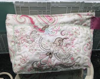 Womens make up bag laura ashley print fabric toiletry bag medium zipper bag travel bag quilted fabric bag pink green cream Embroidered bird