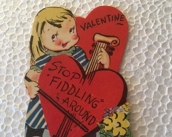Vintage Valentine Girl an Cello Sweet 1960's or Earlier Retro