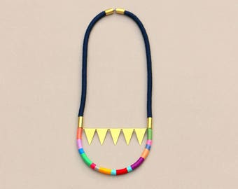 Triangle Pennant Necklace, Colorful Bunting Rope Necklace, Geometric Tribal Statement Necklace, Brass Garland Necklace, Gift For Her
