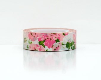 pink flower washi tape-  washi embellishment- paper tape- weddings- packaging- erin condren- pink floral masking tape- party supplies