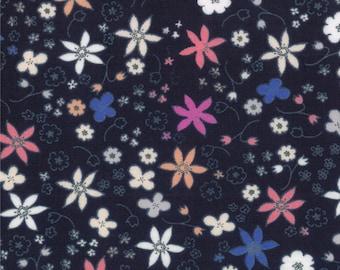 Half Yard Hello Petal Dinky in Darling Navy Blue, Aneela Hoey, Moda Fabrics, 100% Cotton Fabric, 18564 18