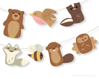 DIY Printable Art Woodland Animals Banner Set 2 PDF digital download Scrapbook clipart Baby Shower Party Decorations