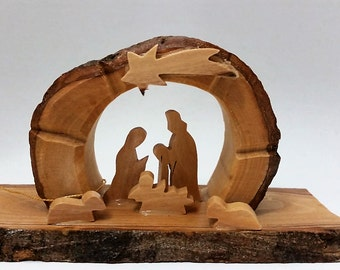 E08/Olive Wood Nativity grotto /carved nativity creche/ Holy Land