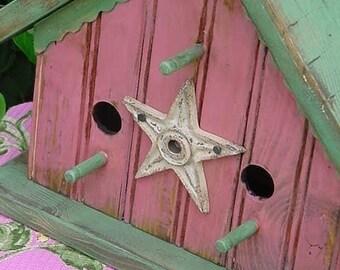 Shabby Cottage Birdhouse French Country Home & Garden Decor Outdoor Bird House