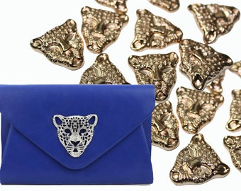 3 PCS Big Gold Leopard Head Rhinestones Iron On, Hotfix, or Glue On Studs