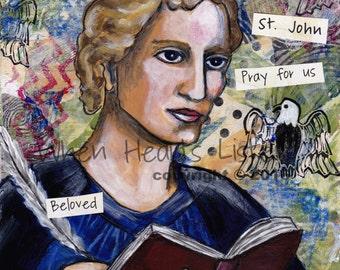 St. John the evangelist, St. John the apostle, Confirmation gift, patron saint of caregivers, patron saint of authors, saint art,