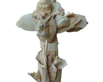 Christian Cross Sculptured From Natural Seashells Unique Handcrafted Sculpture Cross Original Crucifix Religious Wall Decor