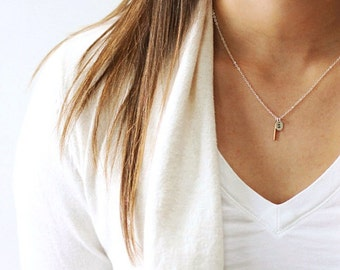 Wife Gift, Mom Gift, Gifts for Women, Tiny Initial Necklace, Bar Necklace, Personalized Necklace, Delicate Necklace, Long Silver Necklace