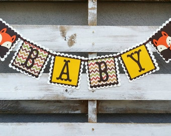 Woodland Fox Baby Banner, Woodland Themed Banner, Baby Shower Decor, Baby Photo Prop,