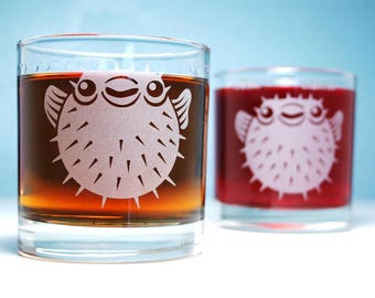 Puffer Fish Lowball Glasses - Set of 2