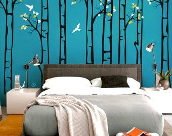 "Baby Nursery Wall Decals - Birch Trees Decal - Tree Wall Decal - Tree Wall Decals - Tree Wall Decal - Large: approx 91"" x 130"" - KC041"