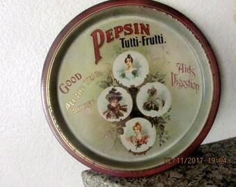 Metal tray round vintage advertising Pepsin