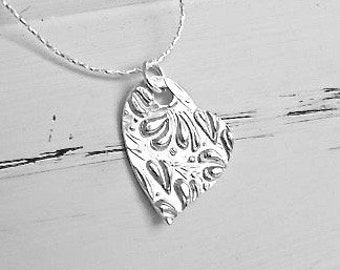 Petite Ivy Embossed Heart -  Fine Silver