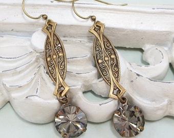 Art Deco Earrings Dangles Art Deco Jewelry Vintage Swarovski Black Diamond Jewelry Gift