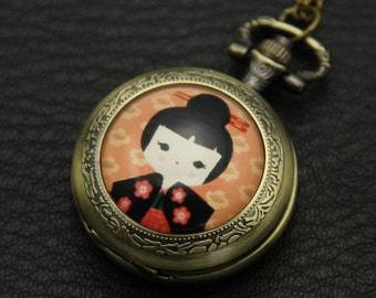 Necklace Pocket watch Japanese girl kokeshi