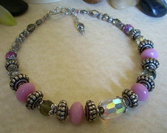 Pink Rondelle Beaded Necklace