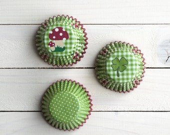 Baking Cups - green polka dot and gingham - Cupcake Muffin Cups - 72pcs