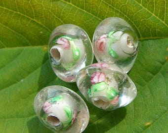Set of 6 flower pink green glass bicone beads