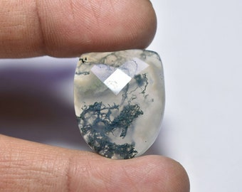 Moss Agate Faceted Gemstone.... 27x22x6 mm...26 cts...##393