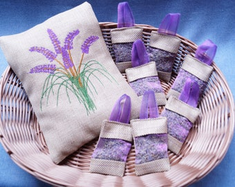 Beautiful embroidered Lavender pillow with 7 Lavender bags contents Lavender flowers dried