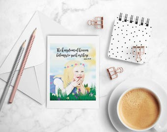 Kingdom of Heaven is such as these, Matthew 19. Girl in Flowers, T21 Inspirational Christian greeting card, printed from whimsical drawing.