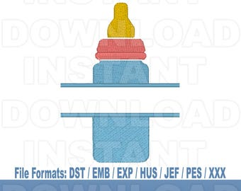 Baby Bottle Split Monogram Machine Embroidery Design Download,Filled Stitch,4X4 Hoop,PES File,JEF File,hus File,dst File,exp File