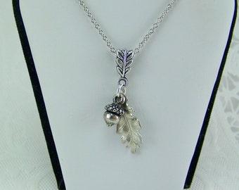 Silver Acorn Necklace, Silver Oak Leaf Necklace, Acorn and Oak Leaf Necklace, Leaf Necklace, Acorn Necklace, Good Luck Necklace, Acorn Leaf