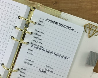 Personal Information printed planner insert refill - info page - in case of emergency numbers - medical - insurance - Personal Wide