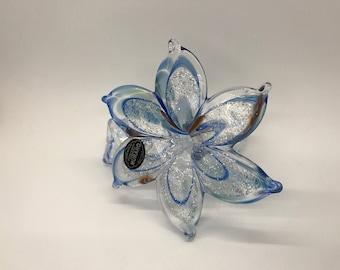 Genuine Murano Glass blue Striped Flower W/Curled Stem, Italy, Italian, Vetro Eseguito, art glass, paperweight