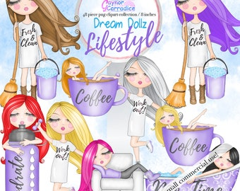 Planner clipart cute girl clipart cleaning clipart coffee clipart work out clipart me time clipart red hair girl clipart lifestyle clipart