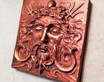 Sea god tile, 4x4 inch square Aged Copper finish, Man's face with swirls and trident. grand old theater decor, Sculpted by Chalifour