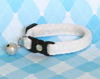 Glitter Cat Collar - Freshly Fallen Snow White - Kitten / Small Cat Size or Large Size