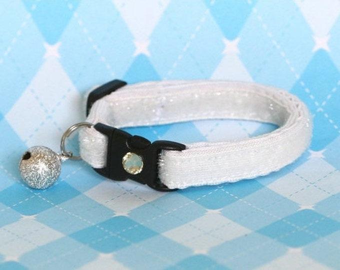 Glitter Cat Collar - Freshly Fallen Snow White - Kitten / Small Cat Size or Large Size